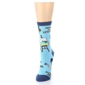 Image of Blue Bob Ross Little Squirrel Women's Dress Socks (side-2-front-07)