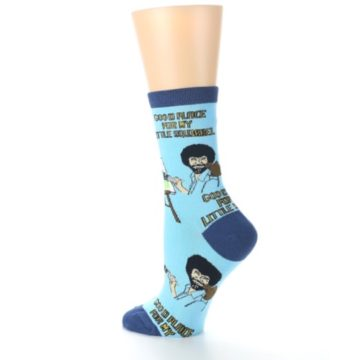 Image of Blue Bob Ross Little Squirrel Women's Dress Socks (side-2-back-14)