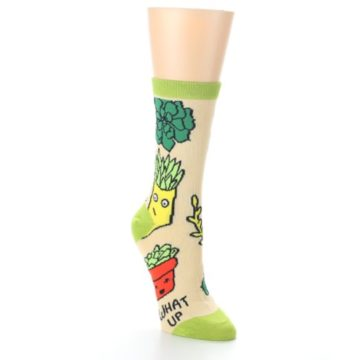 Image of Tan Green What Up Succa Women's Dress Socks (side-1-front-02)