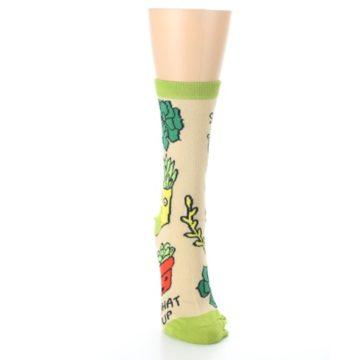 Image of Tan Green What Up Succa Women's Dress Socks (front-04)