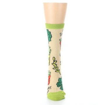 Image of Tan Green What Up Succa Women's Dress Socks (front-05)