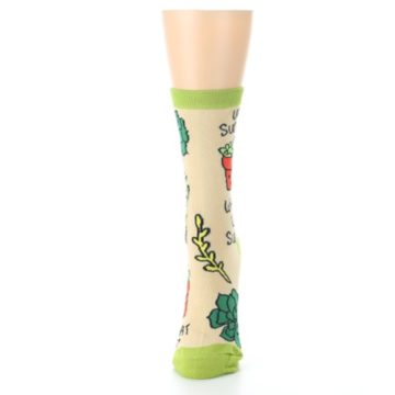 Image of Tan Green What Up Succa Women's Dress Socks (side-2-front-06)