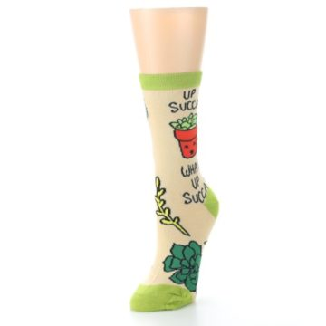 Image of Tan Green What Up Succa Women's Dress Socks (side-2-front-08)