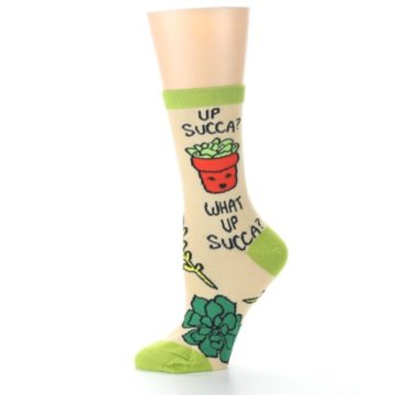 Image of Tan Green What Up Succa Women's Dress Socks (side-2-11)