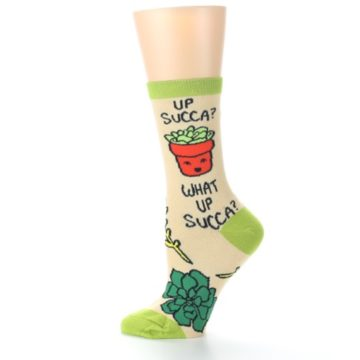 Image of Tan Green What Up Succa Women's Dress Socks (side-2-12)