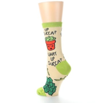 Image of Tan Green What Up Succa Women's Dress Socks (side-2-back-15)