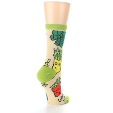 Image of Tan Green What Up Succa Women's Dress Socks (side-1-back-22)