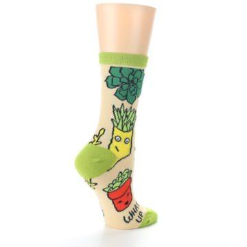 Image of Tan Green What Up Succa Women's Dress Socks (side-1-23)