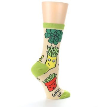 Image of Tan Green What Up Succa Women's Dress Socks (side-1-24)