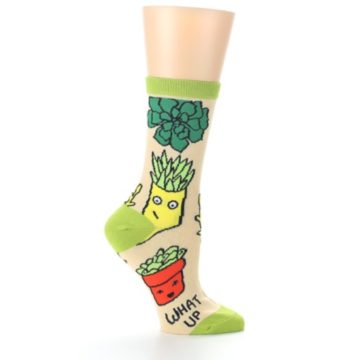 Image of Tan Green What Up Succa Women's Dress Socks (side-1-25)