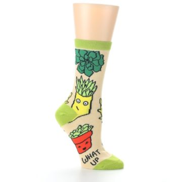 Image of Tan Green What Up Succa Women's Dress Socks (side-1-26)