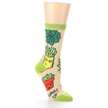 Image of Tan Green What Up Succa Women's Dress Socks (side-1-27)