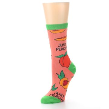 Image of Peach Green Just Peachy Women's Dress Socks (side-2-09)