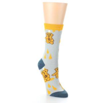 Image of Slate Gold Honey Bear Women's Dress Socks (side-1-front-02)