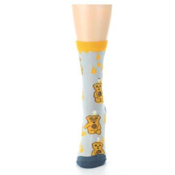 Image of Slate Gold Honey Bear Women's Dress Socks (side-2-front-06)