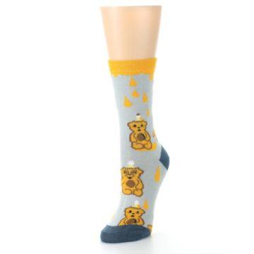 Image of Slate Gold Honey Bear Women's Dress Socks (side-2-front-08)