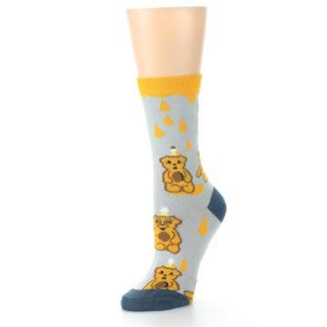 Image of Slate Gold Honey Bear Women's Dress Socks (side-2-09)