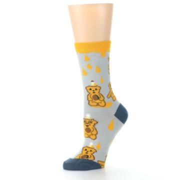 Image of Slate Gold Honey Bear Women's Dress Socks (side-2-10)