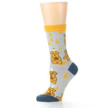 Image of Slate Gold Honey Bear Women's Dress Socks (side-2-11)