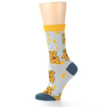 Image of Slate Gold Honey Bear Women's Dress Socks (side-2-12)