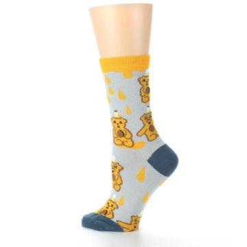 Image of Slate Gold Honey Bear Women's Dress Socks (side-2-13)