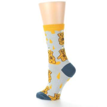 Image of Slate Gold Honey Bear Women's Dress Socks (side-2-back-14)