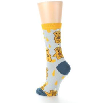 Image of Slate Gold Honey Bear Women's Dress Socks (side-2-back-15)