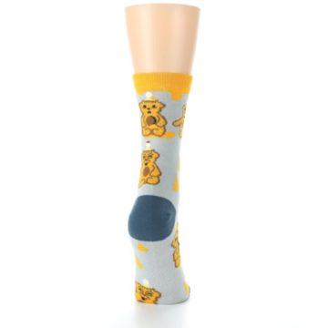 Image of Slate Gold Honey Bear Women's Dress Socks (side-1-back-20)