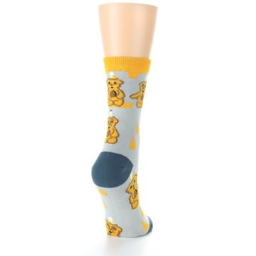 Image of Slate Gold Honey Bear Women's Dress Socks (side-1-back-21)