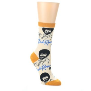 Tan-Gold-Bob-Ross-Signature-Womens-Dress-Socks-Oooh-Yeah-Socks