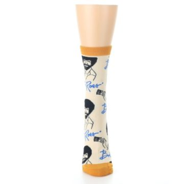 Image of Tan Gold Bob Ross Signature Women's Dress Socks (front-05)