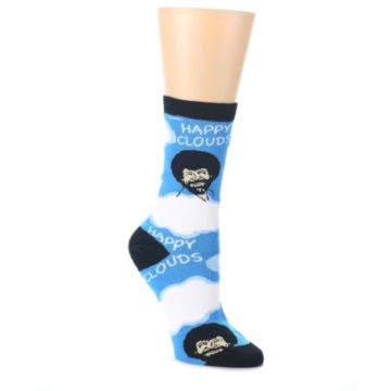 Blue-White-Bob-Ross-Happy-Clouds-Womens-Dress-Socks-Oooh-Yeah-Socks