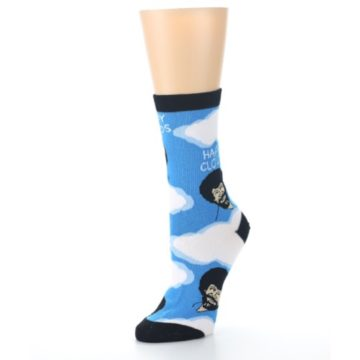 Image of Blue White Bob Ross Happy Clouds Women's Dress Socks (side-2-09)
