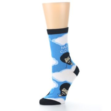 Image of Blue White Bob Ross Happy Clouds Women's Dress Socks (side-2-10)