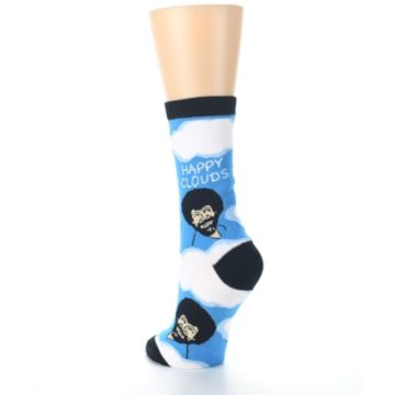 Image of Blue White Bob Ross Happy Clouds Women's Dress Socks (side-2-back-16)