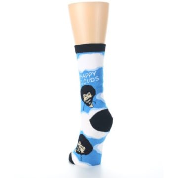 Image of Blue White Bob Ross Happy Clouds Women's Dress Socks (back-17)