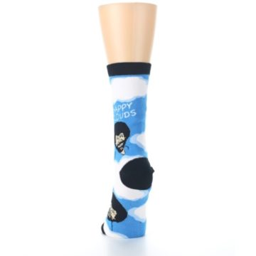 Image of Blue White Bob Ross Happy Clouds Women's Dress Socks (back-18)