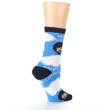 Image of Blue White Bob Ross Happy Clouds Women's Dress Socks (side-1-24)