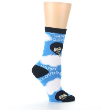Image of Blue White Bob Ross Happy Clouds Women's Dress Socks (side-1-25)