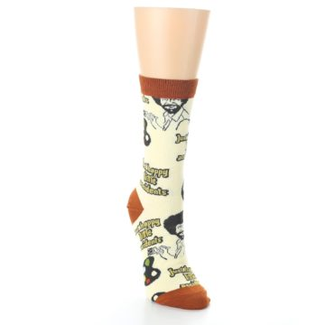 Image of Yellow Brown Bob Ross Happy Little Accidents Women's Dress Socks (side-1-front-03)