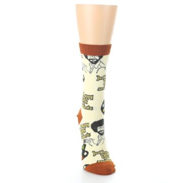 Image of Yellow Brown Bob Ross Happy Little Accidents Women's Dress Socks (front-04)