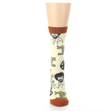 Image of Yellow Brown Bob Ross Happy Little Accidents Women's Dress Socks (front-05)