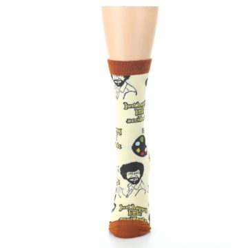 Image of Yellow Brown Bob Ross Happy Little Accidents Women's Dress Socks (side-2-front-06)