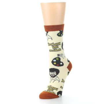 Image of Yellow Brown Bob Ross Happy Little Accidents Women's Dress Socks (side-2-09)