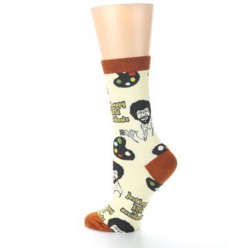 Image of Yellow Brown Bob Ross Happy Little Accidents Women's Dress Socks (side-2-back-14)
