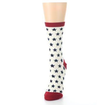 Image of Cream Red Navy Stars Women's Dress Socks (side-2-front-07)