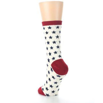 Image of Cream Red Navy Stars Women's Dress Socks (side-2-back-16)