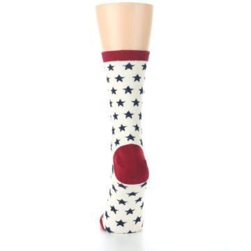 Image of Cream Red Navy Stars Women's Dress Socks (back-18)