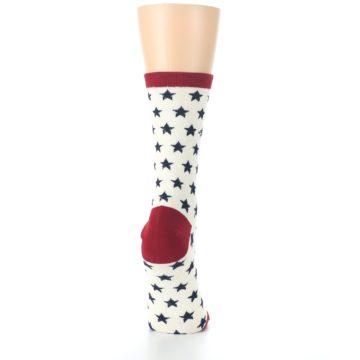 Image of Cream Red Navy Stars Women's Dress Socks (side-1-back-20)