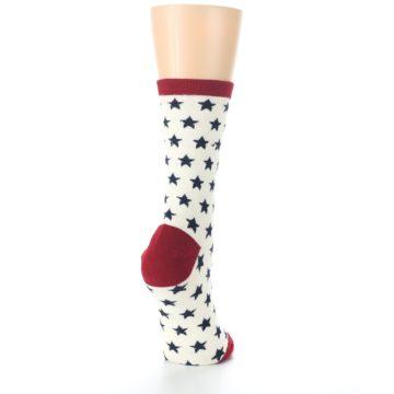 Image of Cream Red Navy Stars Women's Dress Socks (side-1-back-21)